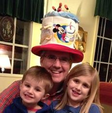 Dave and Kids with b'day hat